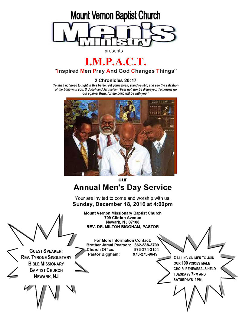 Men's Ministry- Annual Men's Day Service, December 15, 2016