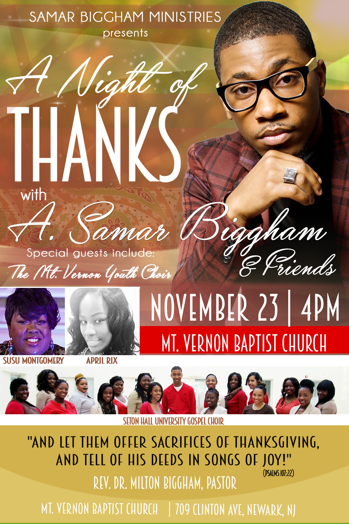 A Night of Thanks with A. Samar Biggham - November 23rd at 4pm