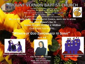 2014 Women's Day Sunday, October 12th at 10:00am