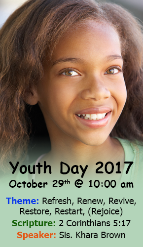 Youth Day Sunday, October 29th. Beginning at 10:00am